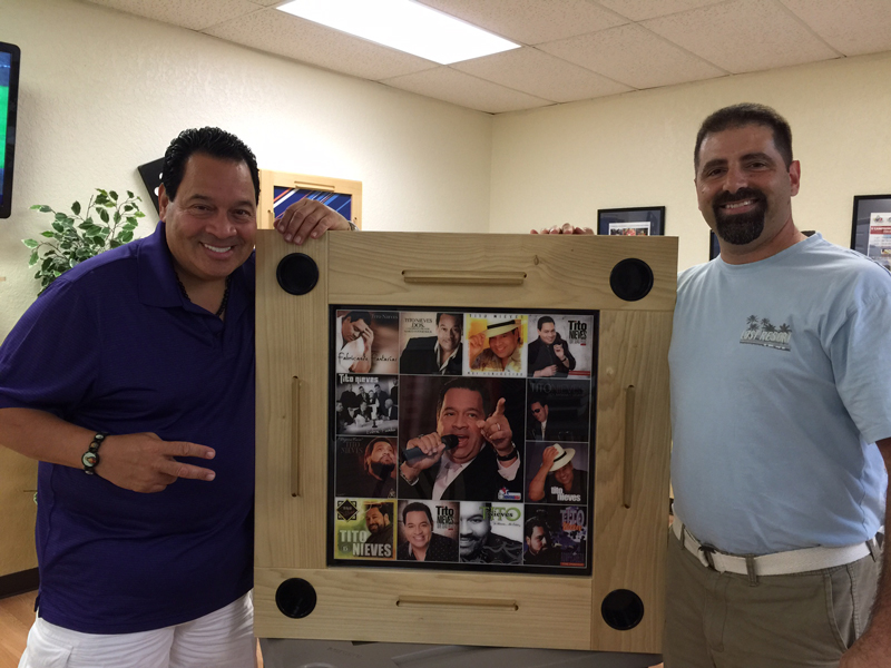 Salsa Legend Tito Nieves with his DOMINO SAM Customized Premium Table.